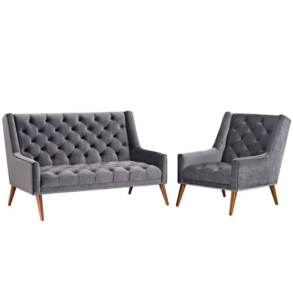 Modway Furniture Peruse Gray Velvet 2pc Living Room Set EEI-2967-GRY-SET