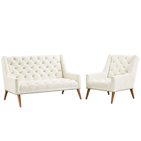 Modway Furniture Peruse Ivory Velvet 2pc Living Room Set EEI-2967-IVO-SET