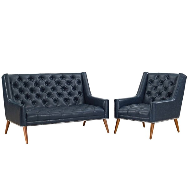 Modway Furniture Peruse Blue Faux Leather 2pc Living Room Set EEI-2968-BLU-SET
