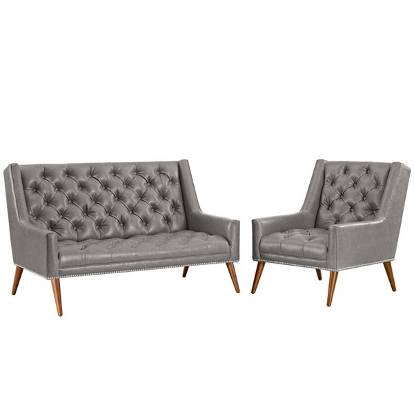 Modway Furniture Peruse Gray Faux Leather 2pc Living Room Set EEI-2968-GRY-SET