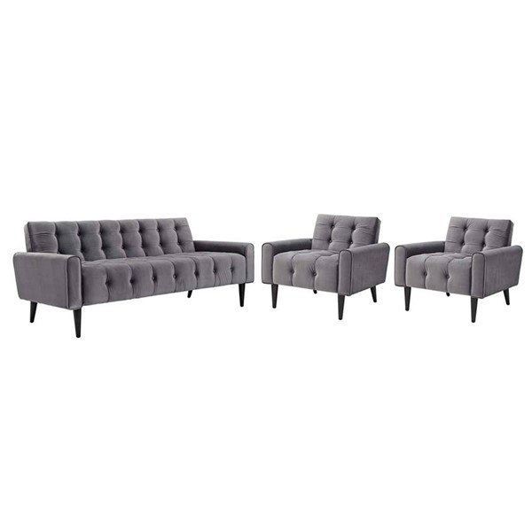 Modway Furniture Delve Gray 3pc Living Room Set EEI-2970-GRY-SET