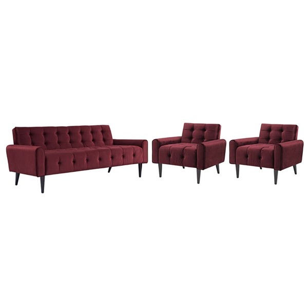 Modway Furniture Delve Maroon 3pc Living Room Set EEI-2970-MAR-SET