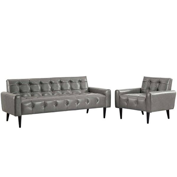 Modway Furniture Delve Gray Vinyl Sofa and Armchair Set EEI-2971-GRY-SET