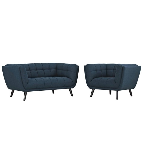 Modway Furniture Bestow Blue Fabric Loveseat and Armchair Set EEI-2972-BLU-SET
