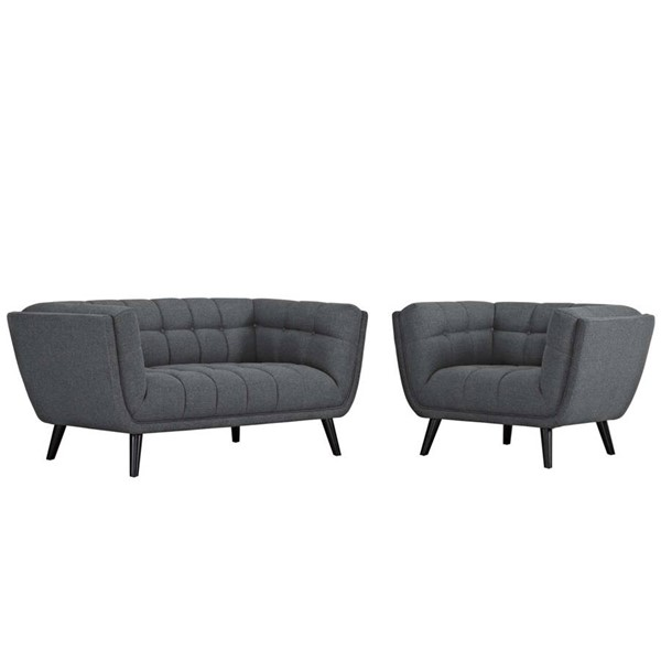 Modway Furniture Bestow Gray Fabric Loveseat and Armchair Set EEI-2972-GRY-SET