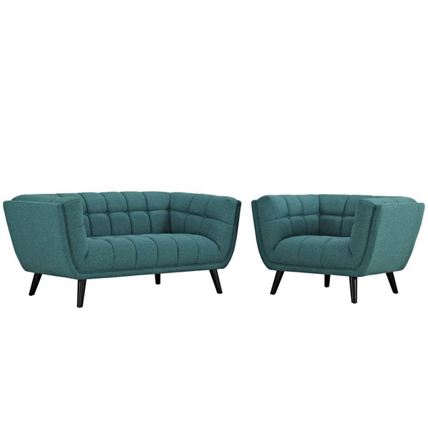 Modway Furniture Bestow Teal Fabric Loveseat and Armchair Set EEI-2972-TEA-SET