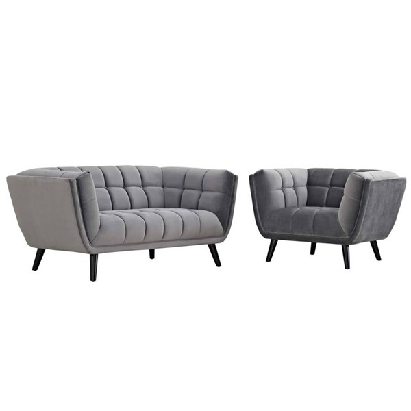 Modway Furniture Bestow Gray Velvet Loveseat and Armchair Set EEI-2973-GRY-SET