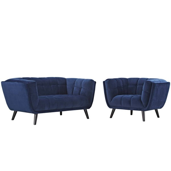 Modway Furniture Bestow Navy Velvet Loveseat and Armchair Set EEI-2973-NAV-SET