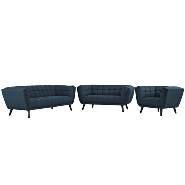 Modway Furniture Bestow Blue Fabric 3pc Living Room Set EEI-2974-BLU-SET