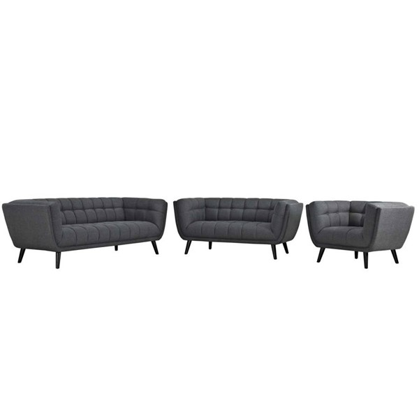 Modway Furniture Bestow Gray Fabric 3pc Living Room Set EEI-2974-GRY-SET