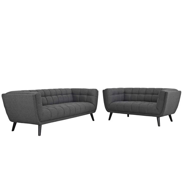 Modway Furniture Bestow Gray Fabric Sofa and Loveseat Set EEI-2975-GRY-SET