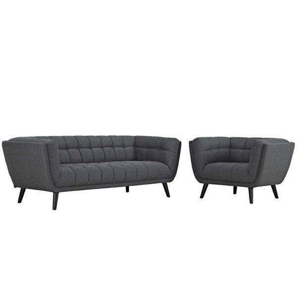 Modway Furniture Bestow Gray Fabric Sofa and Armchair Set EEI-2976-GRY-SET