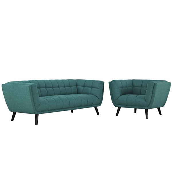 Modway Furniture Bestow Teal Fabric Sofa and Armchair Set EEI-2976-TEA-SET
