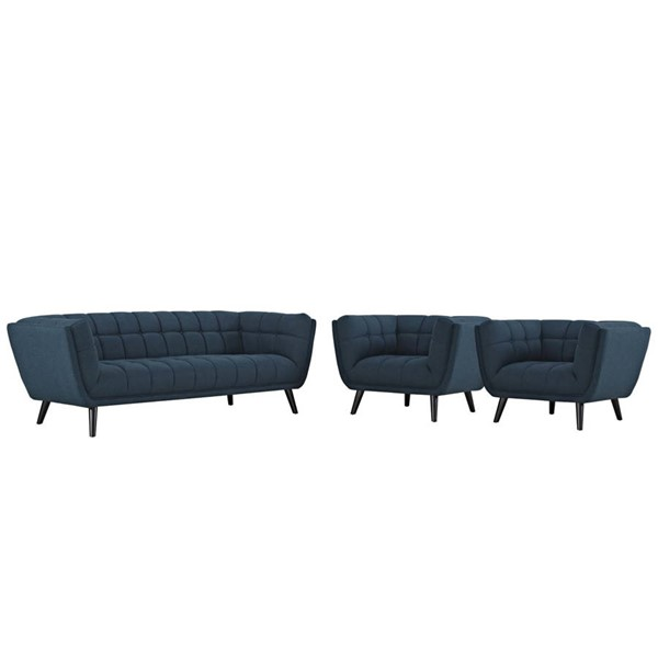 Modway Furniture Bestow Blue Fabric 3pc Sofa and Armchair Set EEI-2977-BLU-SET