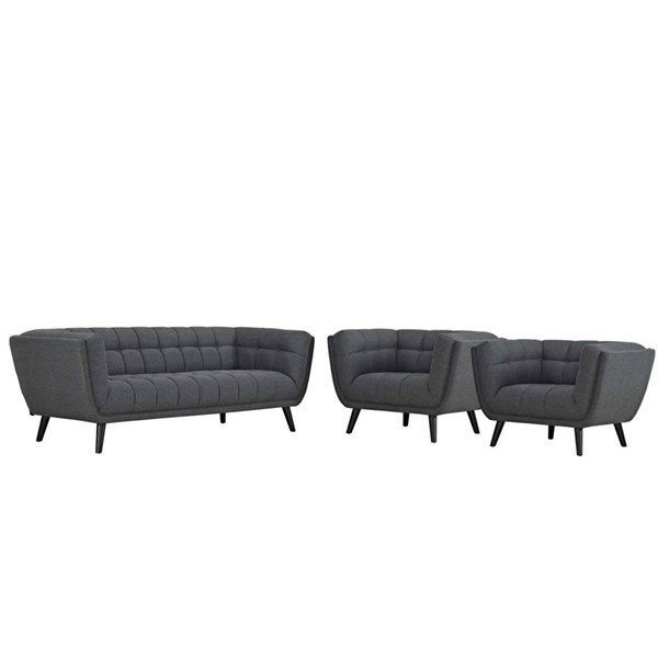 Modway Furniture Bestow Gray Fabric 3pc Sofa and Armchair Set EEI-2977-GRY-SET