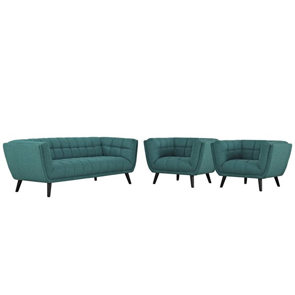 Modway Furniture Bestow Teal Fabric 3pc Sofa and Armchair Set EEI-2977-TEA-SET
