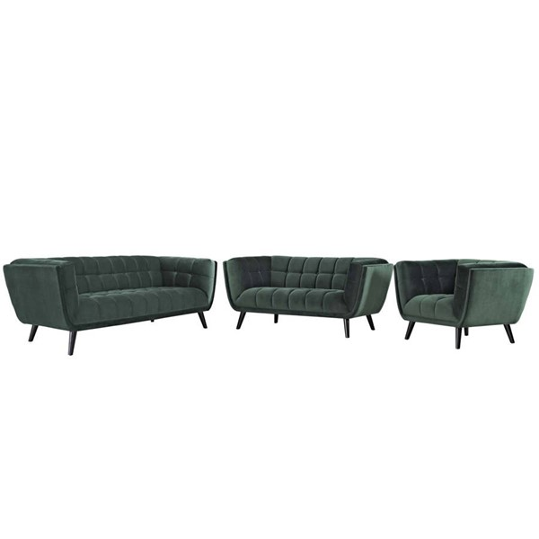 Modway Furniture Bestow Green Velvet 3pc Living Room Sets EEI-2978-LR-SET-VAR