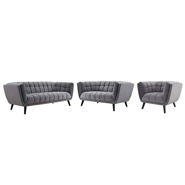 Modway Furniture Bestow Gray Velvet 3pc Living Room Set EEI-2978-GRY-SET