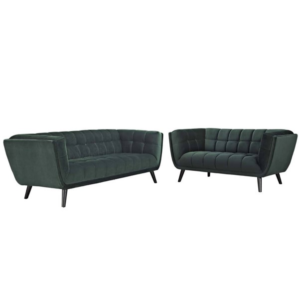 Modway Furniture Bestow Green Velvet Sofa and Loveseat Set EEI-2979-GRN-SET