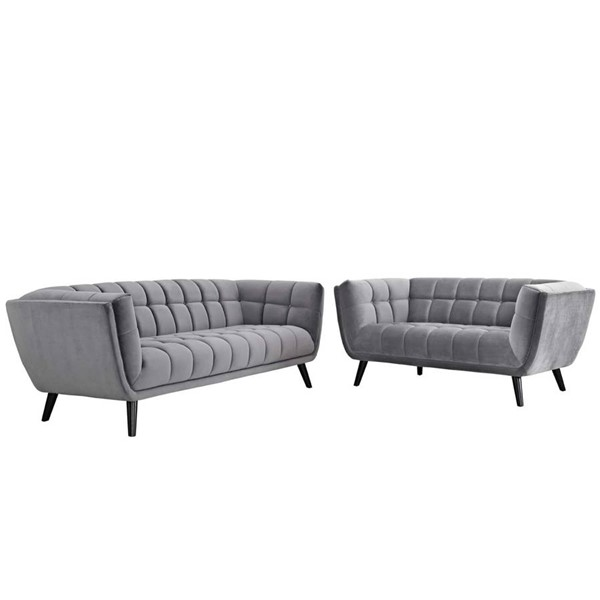 Modway Furniture Bestow Gray Velvet Sofa and Loveseat Set EEI-2979-GRY-SET
