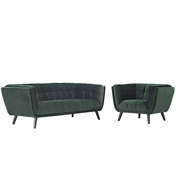 Modway Furniture Bestow Green Velvet Sofa and Armchair Set EEI-2980-GRN-SET