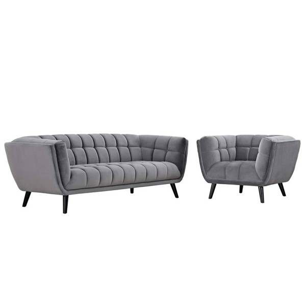 Modway Furniture Bestow Gray Velvet Sofa and Armchair Set EEI-2980-GRY-SET