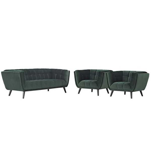 Modway Furniture Bestow Green Velvet 3pc Sofa and Armchair Sets EEI-2981-LR-SET-VAR