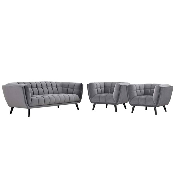 Modway Furniture Bestow Gray Velvet 3pc Sofa and Armchair Set EEI-2981-GRY-SET