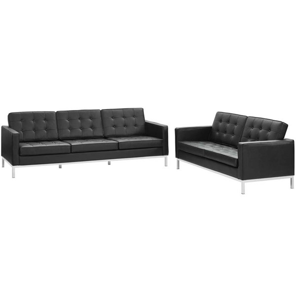 Modway Furniture Loft Black Leather Sofa and Loveseat Set EEI-2987-BLK-SET