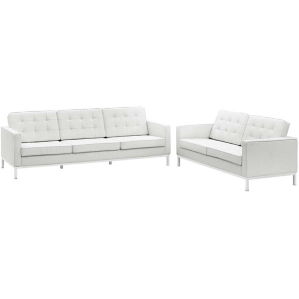 Modway Furniture Loft White Leather Sofa and Loveseat Set EEI-2987-WHI-SET