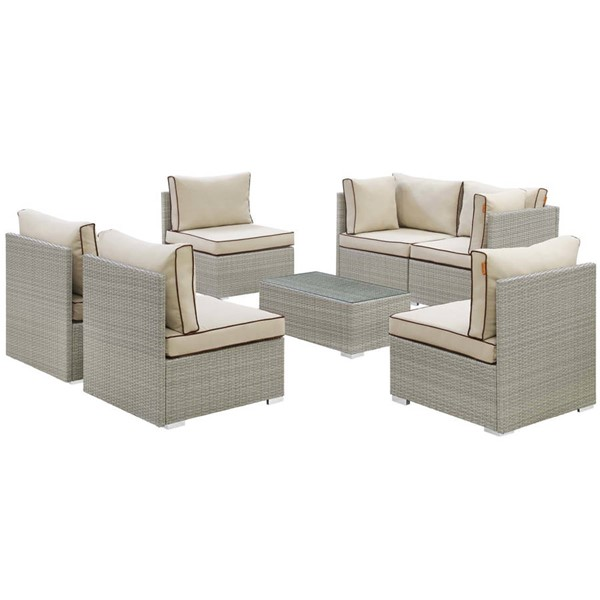 Modway Furniture Repose Beige 7pc Outdoor Patio Sectional Set EEI-3004-LGR-BEI-SET