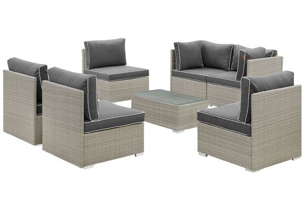 Modway Furniture Repose Charcoal 7pc Outdoor Patio Sectional Set EEI-3004-LGR-CHA-SET