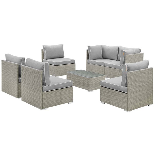 Modway Furniture Repose Gray 7pc Outdoor Patio Sectional Set EEI-3004-LGR-GRY-SET