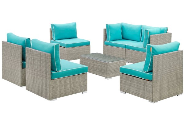 Modway Furniture Repose Turquoise 7pc Outdoor Patio Sectional Set EEI-3004-LGR-TRQ-SET