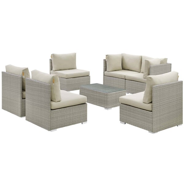 Modway Furniture Repose Beige 7pc Outdoor Patio Sunbrella Sectional Set EEI-3005-LGR-BEI-SET