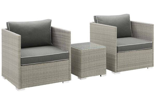 Modway Furniture Repose Charcoal 3pc Outdoor Chair and Ottoman Set EEI-3006-LGR-CHA-SET