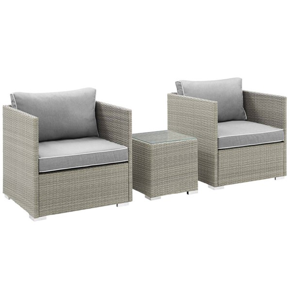 Modway Furniture Repose Gray 3pc Outdoor Chair and Ottoman Set EEI-3006-LGR-GRY-SET