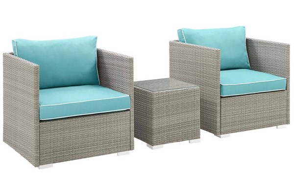 Modway Furniture Repose Turquoise 3pc Outdoor Chair and Ottoman Set EEI-3006-LGR-TRQ-SET