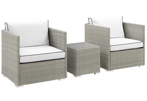 Modway Furniture Repose White 3pc Outdoor Chair and Ottoman Set EEI-3006-LGR-WHI-SET