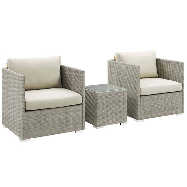 Modway Furniture Repose Beige Fabric 3pc Outdoor Chair and Ottoman Set EEI-3007-LGR-BEI-SET