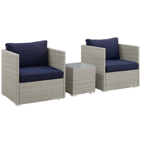 Modway Furniture Repose Navy Fabric 3pc Outdoor Chair and Ottoman Set EEI-3007-LGR-NAV-SET