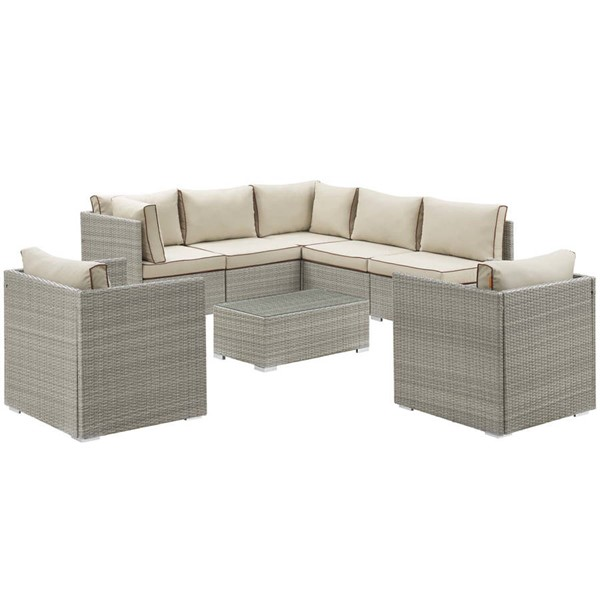 Modway Furniture Repose Beige 8pc Outdoor Patio Sectional Set EEI-3008-LGR-BEI-SET