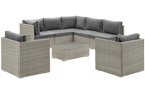 Modway Furniture Repose Charcoal 8pc Outdoor Patio Sectional Set EEI-3008-LGR-CHA-SET