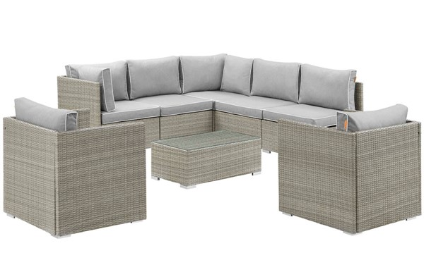 Modway Furniture Repose Gray 8pc Outdoor Patio Sectional Set EEI-3008-LGR-GRY-SET