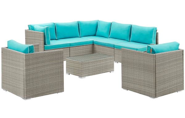 Modway Furniture Repose Turquoise 8pc Outdoor Patio Sectional Set EEI-3008-LGR-TRQ-SET