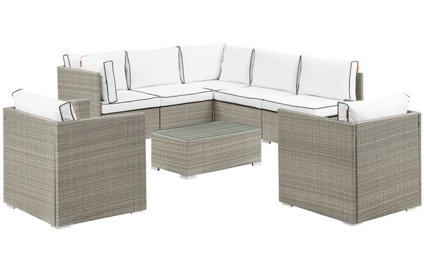 Modway Furniture Repose White 8pc Outdoor Patio Sectional Set EEI-3008-LGR-WHI-SET