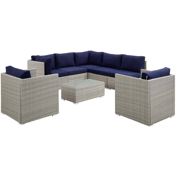 Modway Furniture Repose Navy 8pc Outdoor Patio Sunbrella Sectional Set EEI-3009-LGR-NAV-SET