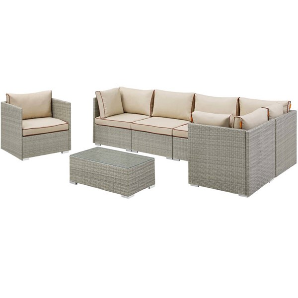 Modway Furniture Repose Light Gray Beige 7pc Outdoor Patio Sectionals EEI-3010-LGR-SEC-VAR