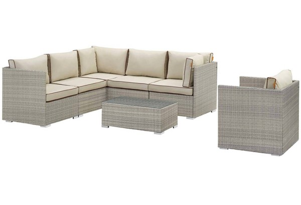 Modway Furniture Repose Light Gray Beige 7pc Outdoor Patio Sectional Set EEI-3010-LGR-BEI-SET