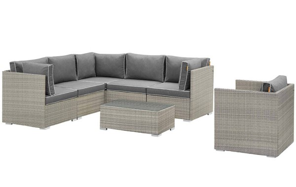 Modway Furniture Repose Light Gray Charcoal 7pc Outdoor Patio Sectional Set EEI-3010-LGR-CHA-SET